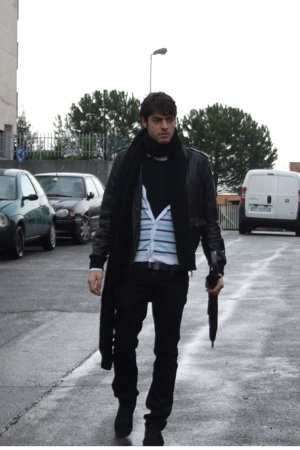 roberto cavalli pants - Burberry belt - Zara jacket - H&M scarf - H&M - tod s sh