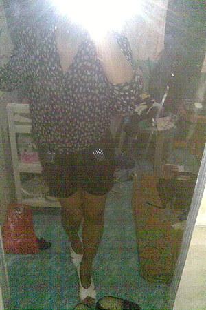 black studded Thrift Store shorts - dark gray floral print H&M blouse