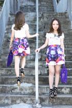 deep purple galaxy skirt Retro Girl skirt - violet baobao bag Issey Miyake bag