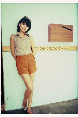 random brand shorts - silk polka dot random brand blouse