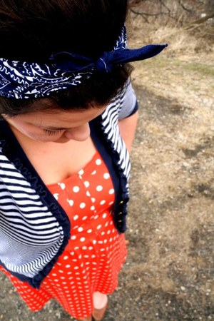carrot orange polka dot Maurices dress - navy striped Charlotte Russe cardigan