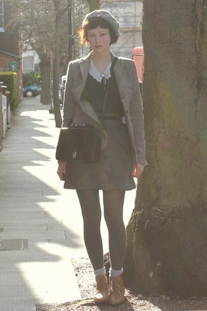 brown tweed Zara jacket - bronze H&M boots - black satchel thrifted vintage bag