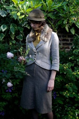 gray Marlene Birger jacket - gray Vintage shop in Brick Lane skirt - green Chari