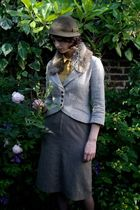 gray Marlene Birger jacket - gray Vintage shop in Brick Lane skirt - green Chari