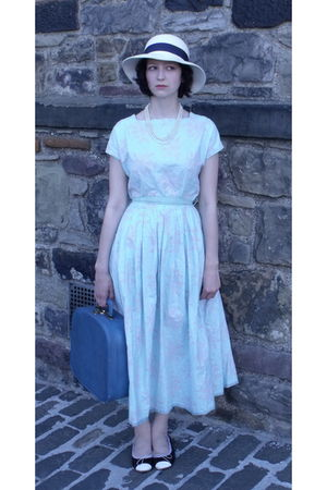 blue homemade in the 50s dress - white charity shop hat