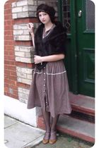 brown Cloud Cuckoo Land dress - brown Jumble sale accessories - brown new look s