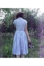 Blue-handmade-dress-beige-charity-shop-hat-black-bloch-shoes-beige-new-loo