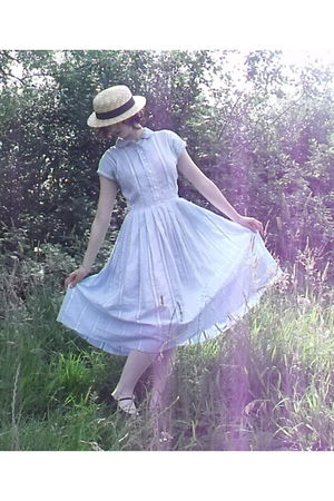 beige charity shop hat - black Bloch shoes - blue 1950s handmade dress