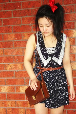 black subtitled dress - brown thrifted bag - brown thrifted belt - red school ri