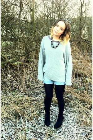 vintage denim shorts - topshop fine knit jumper - george  asda suede wedges