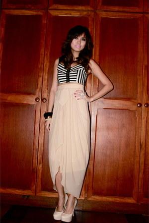 H&M top - nude Glitterati skirt - eggshell Forever 21 heels