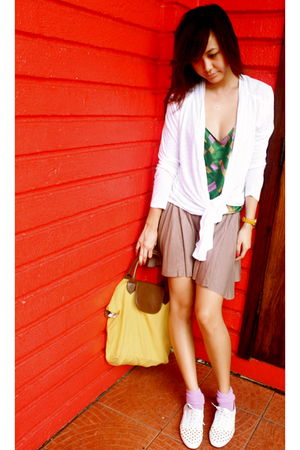 white cardigan - green vintage top - brown thrifted skirt - yellow bag - purple