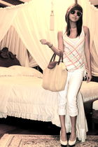 white jeans - white Bebe shoes - gold bag - orange H&M sunglasses - white Foreve