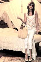 white jeans - white Bebe shoes - gold bag - orange H&M sunglasses - white Foreve