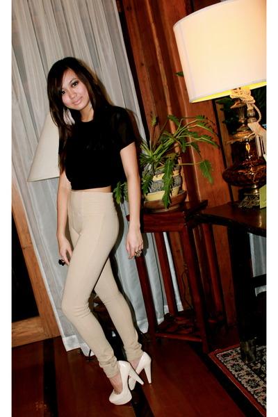 1b8f0acb beige high waisted Zara leggings - eggshell Forever 21 heels - black Monki  blous