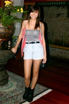 BW tube top - blue The Second Shop denim high waisted shorts - black Zara bootie
