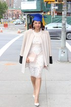 light pink Club Monaco jacket - white Zara shoes - nude lace intermix dress