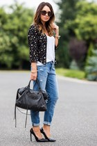 black Morgan old jacket - sky blue boyfriend H&M jeans - black balenciaga bag