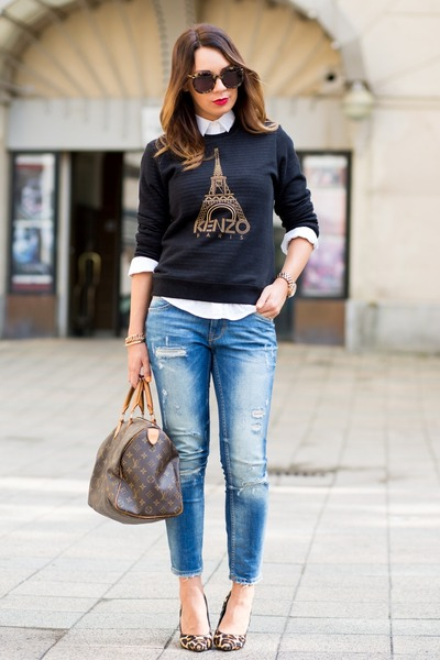 mustard dune bag - dark brown Louis Vuitton bag - sky blue Zara jeans
