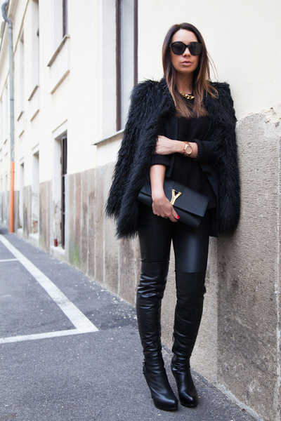 black Guess boots - black faux fur asos coat - black leather J Brand leggings
