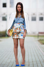 White-linen-mango-blazer-sky-blue-denim-pull-bear-shirt-yellow-bershka-bag