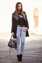 wool leather Zara coat - suede Stradivarius boots - leather balenciaga bag