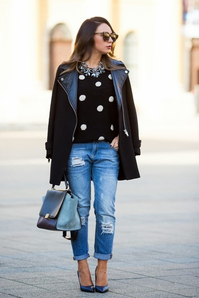 blue Mango jeans - black Forever 21 sweater - heather gray Celine bag