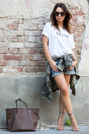 army green camouflage Zara shirt - dark brown Louis Vuitton bag