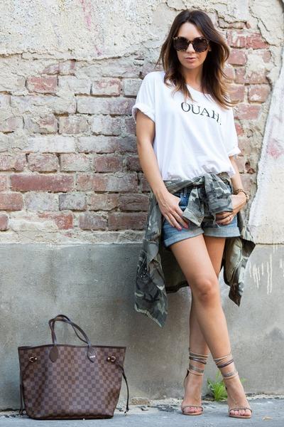 army green camouflage Zara shirt - dark brown Louis Vuitton bag