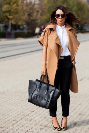 white Zara shirt - black Celine bag - camel dune heels