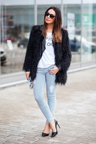 black leather karen millen jacket - black faux fur asos coat