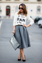 silver Zara bag - charcoal gray River Island skirt