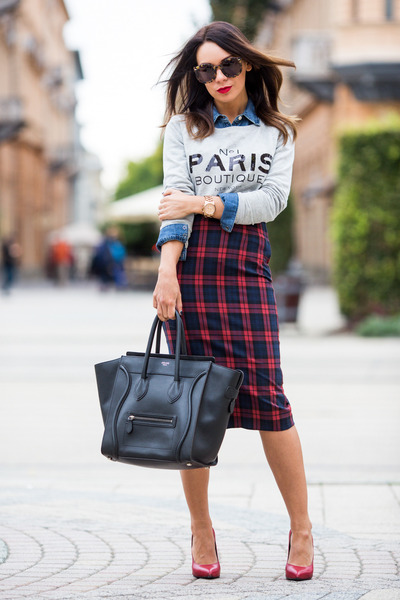 blue denim Gap shirt - black Celine bag - ruby red plaid tartan Zara skirt