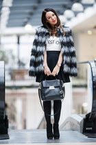 black Stradivarius boots - heather gray faux fur asos coat - Michael Kors bag