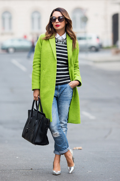 chartreuse Topshop coat - black striped sweater