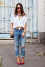 Blue-h-m-jeans-white-oversized-zara-shirt-ruby-red-saint-laurent-heels