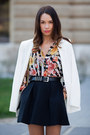 White-zara-blazer-bubble-gum-zara-blouse-black-mango-skirt