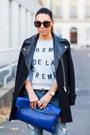 Black-zara-coat-periwinkle-zoe-karssen-sweatshirt-blue-forever-21-pumps