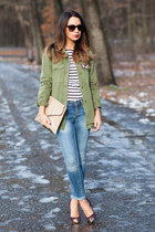 blue skinny Zara jeans - dark green Zara shirt - nude studded new look bag
