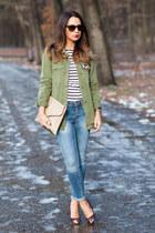 blue skinny Zara jeans - dark green Zara shirt - nude studded new look bag
