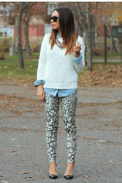 snake print Zara pants - knitted Pull &amp; Bear sweater