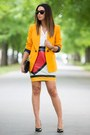 Gold-zara-blazer-blue-saint-laurent-bag-red-moschino-skirt