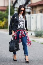 white F&F t-shirt - navy boyfriend jeans Zara jeans - black leather Zara jacket