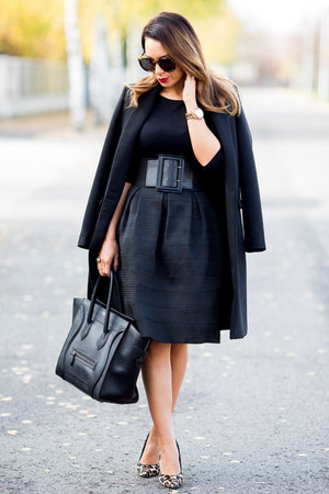 black Zara coat - black Celine bag - black midi River Island skirt