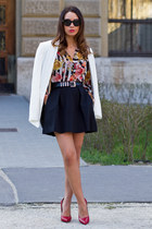white Zara blazer - bubble gum Zara blouse - black Mango skirt