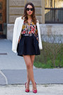 White-zara-blazer-black-mango-skirt-bubble-gum-zara-blouse