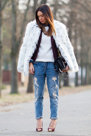 maroon H&amp;M blazer - white faux fur asos coat - blue boyfriend Zara jeans