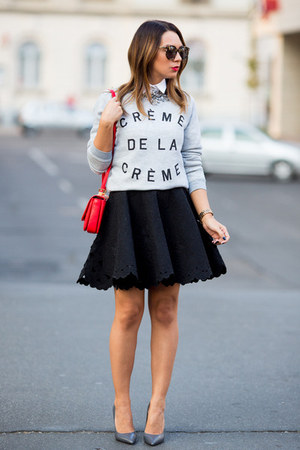 black H&M Trend skirt - silver Zoe Karssen sweater - red Zara bag