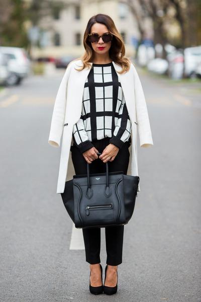 celine tie handbag - White Forever 21 Sweaters, Black Celine Bags, Black Giuseppe ...