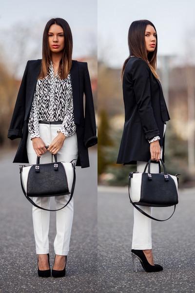 white tailored Zara pants - black smoking Zara blazer - white Zara blouse